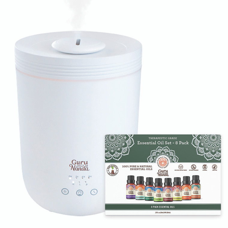 Dr. Raj 90210 Special Halo XL Humidifier & Essential Oil Diffuser + Gift Set of 8 Essential Oils