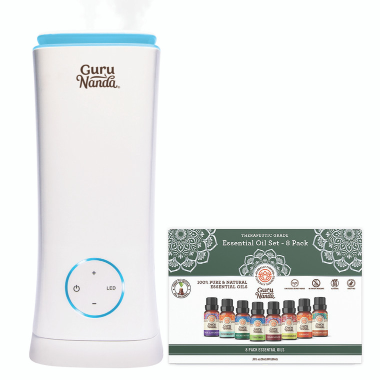Guru Nanda Tower XL Humidifier & Essential Oil Diffuser + Gift Set of 8 Essential Oils