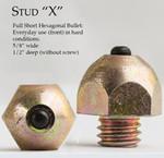 "Stud ""X"" Full Short Hexagonal Bullet Stud"