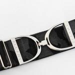 "Ellany Black Camo - 2"" Silver Stirrup Elastic Belt"