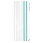 Swig Life™ Clear + Aqua Reusable Straw Set (Tall)