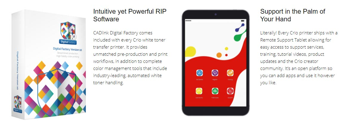 Crio Tablet and CadLink Digital Factory RIP software