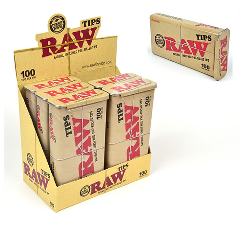 Raw Pre-Rolled Tips in Tin 100ct.
