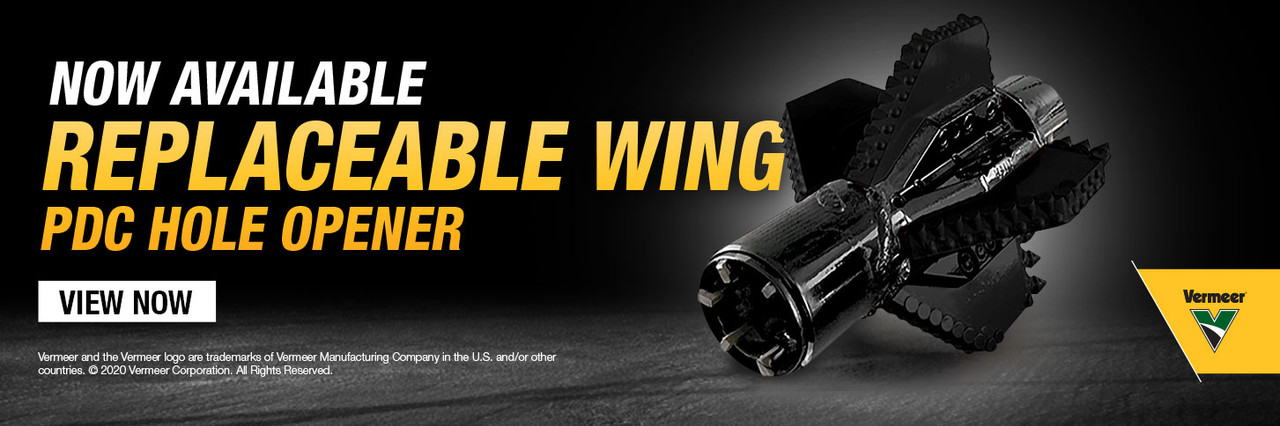 Vermeer introduces the Replaceable Wing PDC hole opener to the ever growing line of rock tooling. View now.