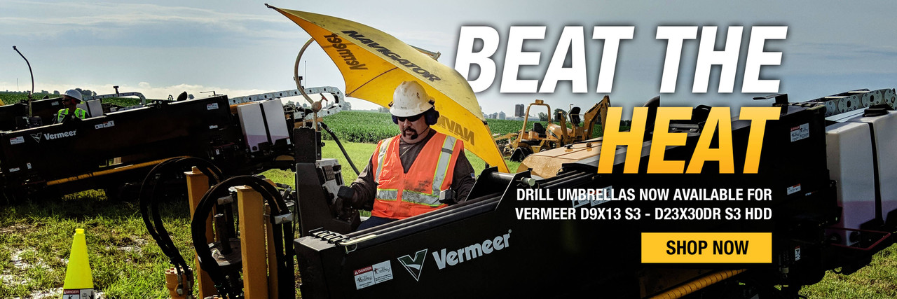 Beat the heat with Vermeer drill umbrellas for small horizontal directional drills.