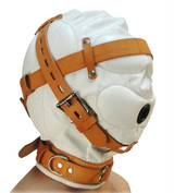 Total Sensory Deprivation White Leather Hood - Small/Medium (AC220-SM)