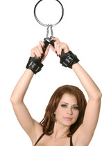 Fur Lined Leather Suspension Cuff Kit with Bondage Ring (AE305)