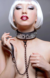 Platinum Bound Chained Collar with Leash (AE491)