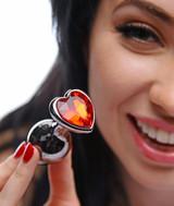 Crimson Tied Scarlet Heart Shaped Jewel Anal Plug (AE392)