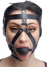 Leather Head Harness with Ball Gag (AE763)