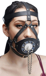 Plug Your Hole Open Mouth Leather Head Harness (SDAE762)