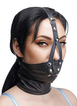 Leather Neck Corset Harness with Stuffer Gag (AE761)