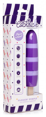 Pleasin 10X Popsicle Silicone Rechargeable Vibrator (packaged)