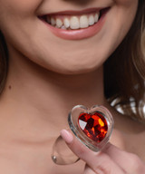 Red Heart Gem Glass Anal Plug - Small (AG432-Small)