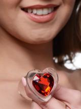Red Heart Gem Glass Anal Plug - Medium (AG432-Medium)