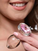 Pink Gem Glass Anal Plug - Medium (AG430-Medium)
