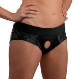 Lace Envy Black Crotchless Panty Harness - S-M (AG453-SM)