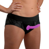 Lace Envy Black Pegging Set with Lace Crotchless Panty Harness and Dildo - L-XL (AG454)