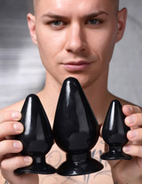 Triple Cones 3 Piece Anal Plug Set - Black (AG457-Black)