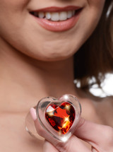 Red Heart Gem Glass Anal Plug - Large (AG432-Large)
