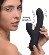 5 Star 13X Silicone Pulsing and Vibrating Rabbit - Black (AG507-Black)