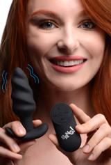 Remote Control 21X Vibrating Silicone Swirl Butt Plug - Black (AG564-Black)