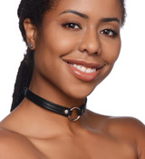 Sex Pet Leather Choker with Silver Ring