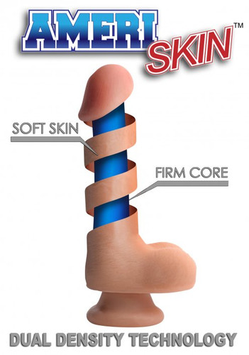 8 Inch Ultra Real Dual Layer Suction Cup Dildo- Dark Skin Tone