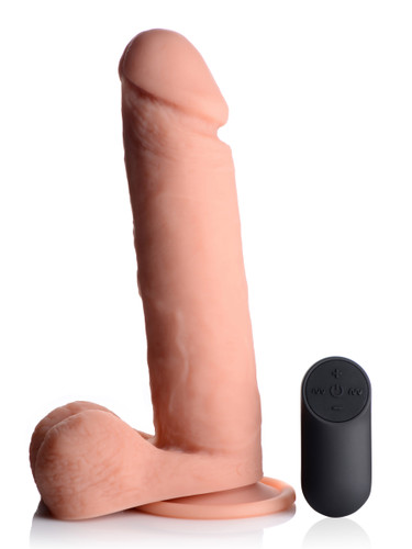 Big Shot Vibrating Remote Control Silicone Dildo with Balls - 9 Inch (AG231-9)