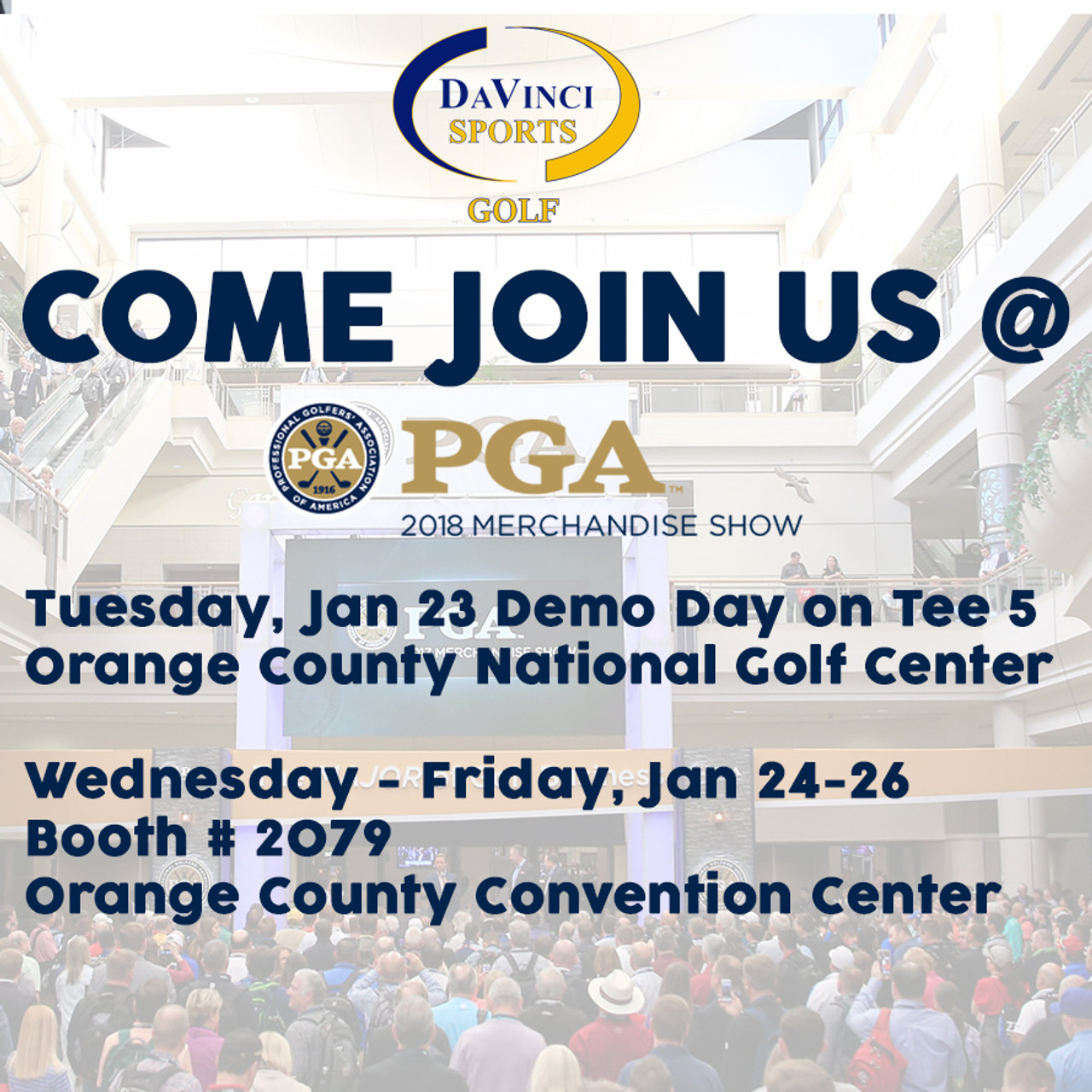 COME JOIN US AT THE PGA 2018 MERCHANDISING SHOW