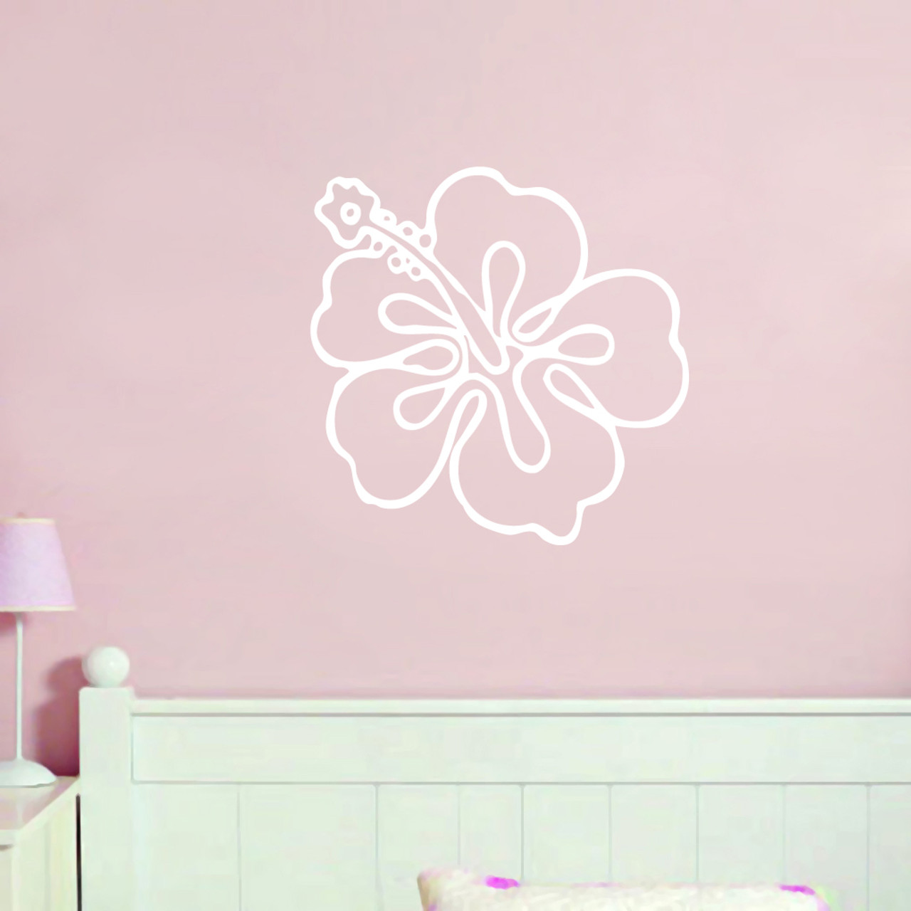 Hibiscus Flower Outline Wall Decals Wall Decor Stickers