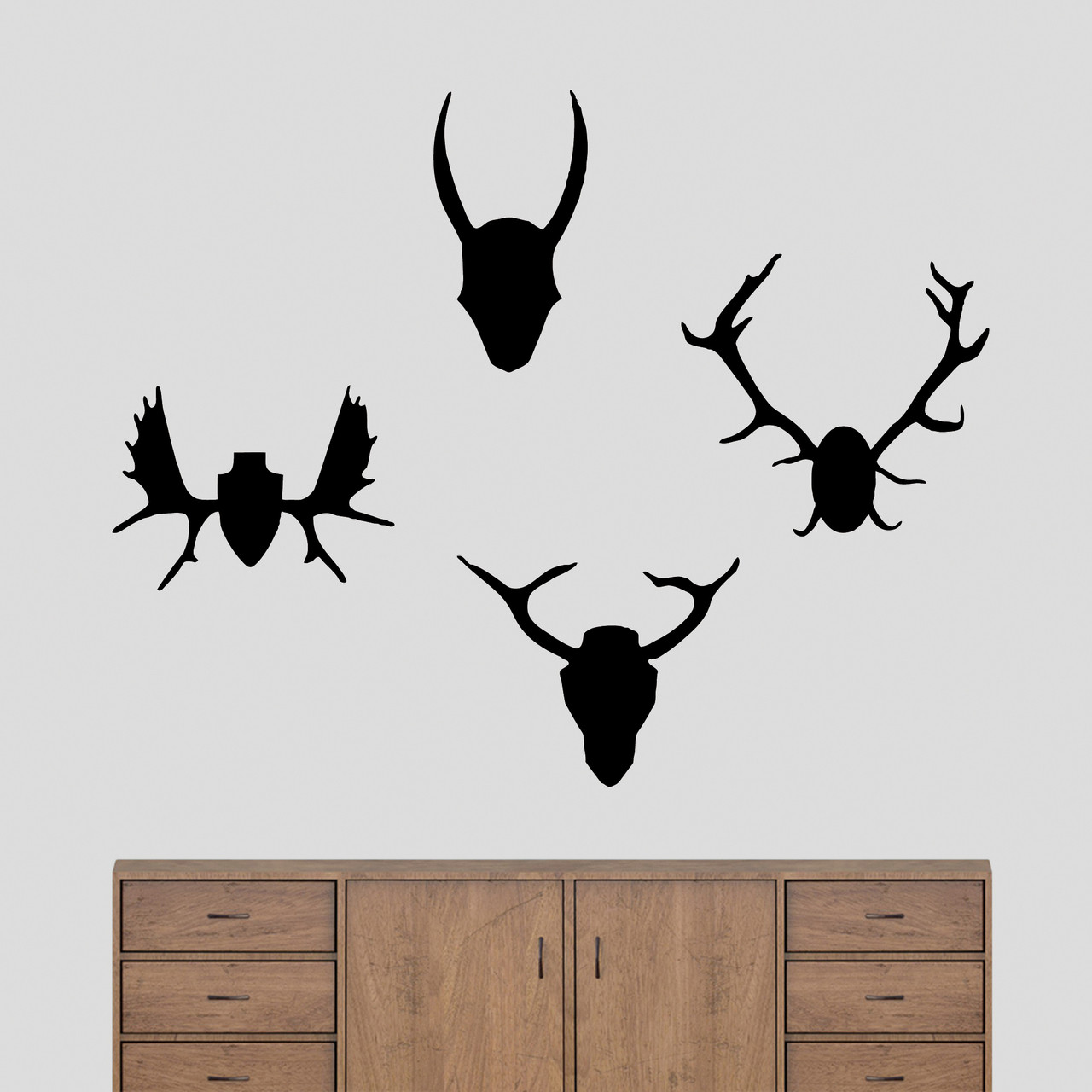 Mounted Antlers Set Wall Decals Home Decor Wall Decals