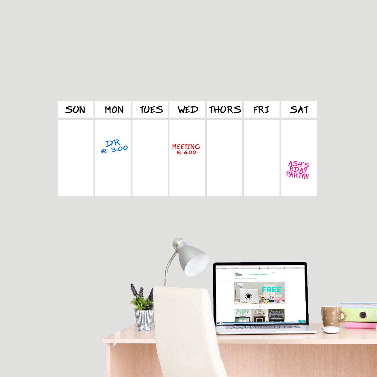 This week dry erase calendar wall decals 30 wide x 11 tall sample image