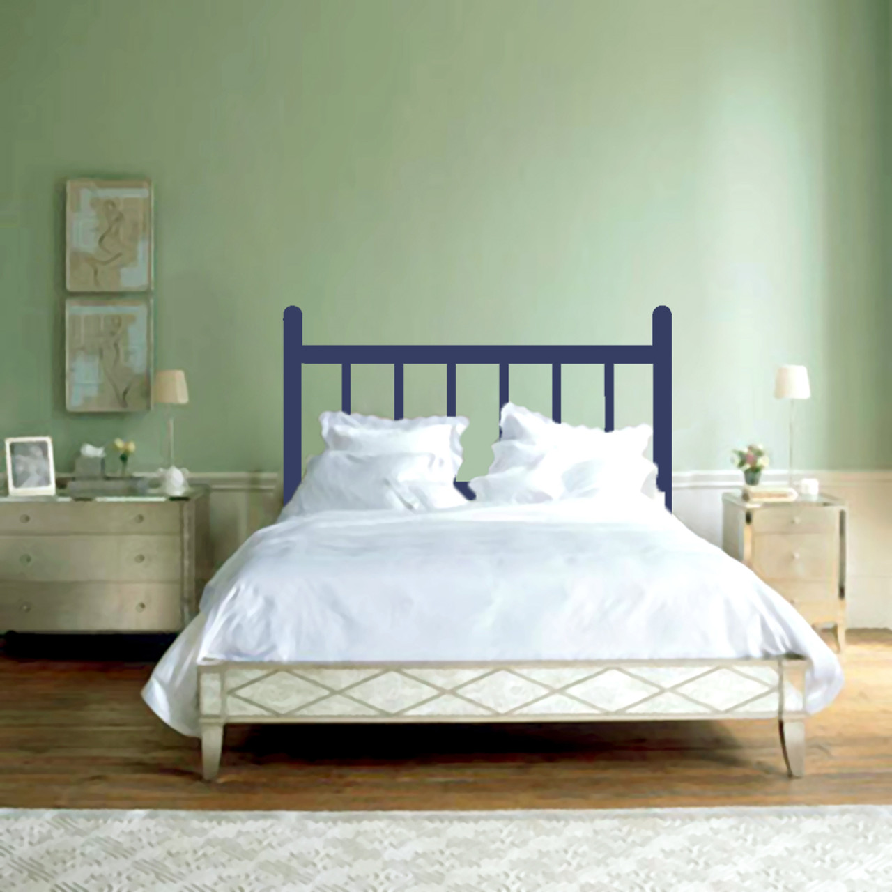 Traditional Headboard Bedroom Wall Decals And Stickers