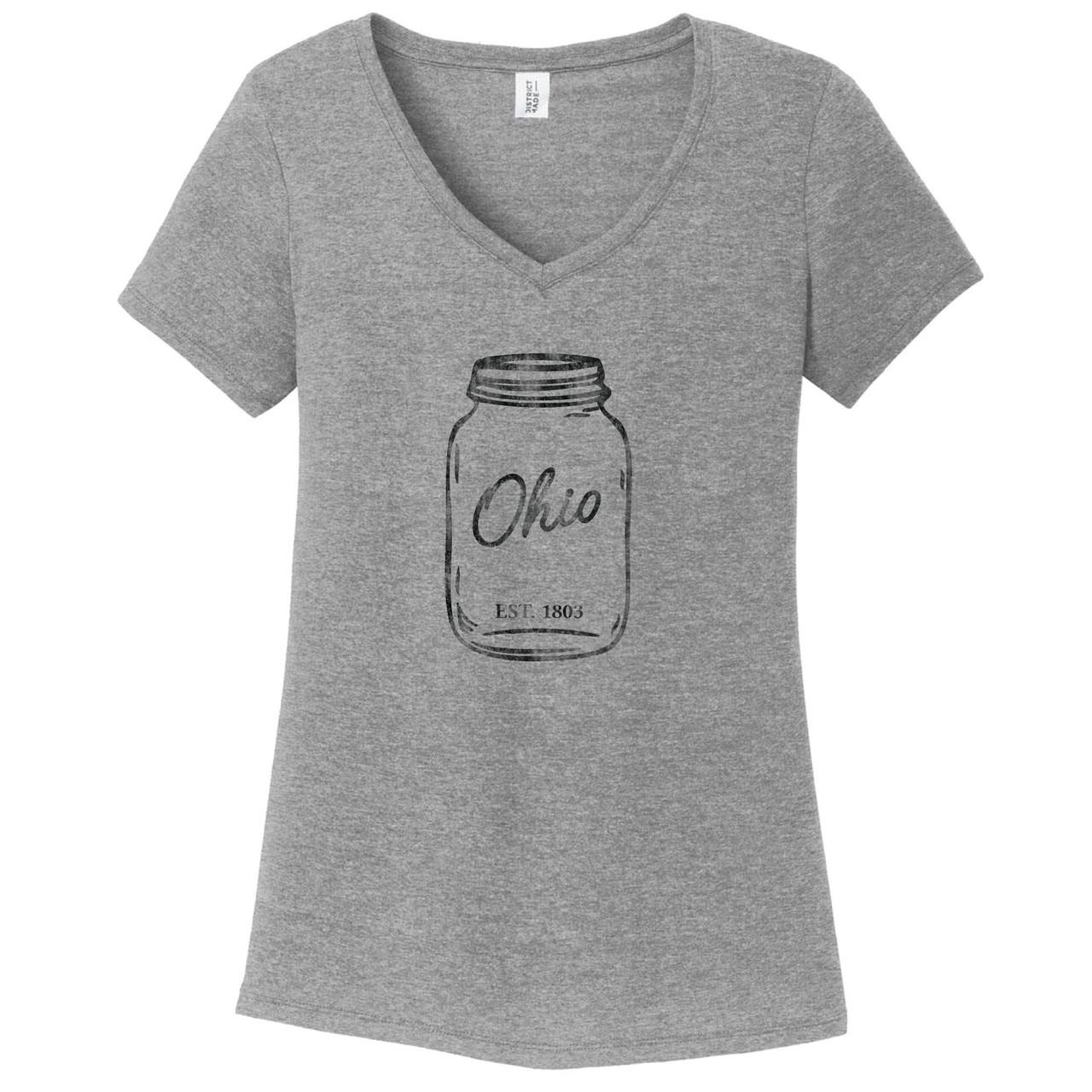 07293df6fcb7 Grey Frost Mason Jar Women's Fitted V-Neck T-Shirt