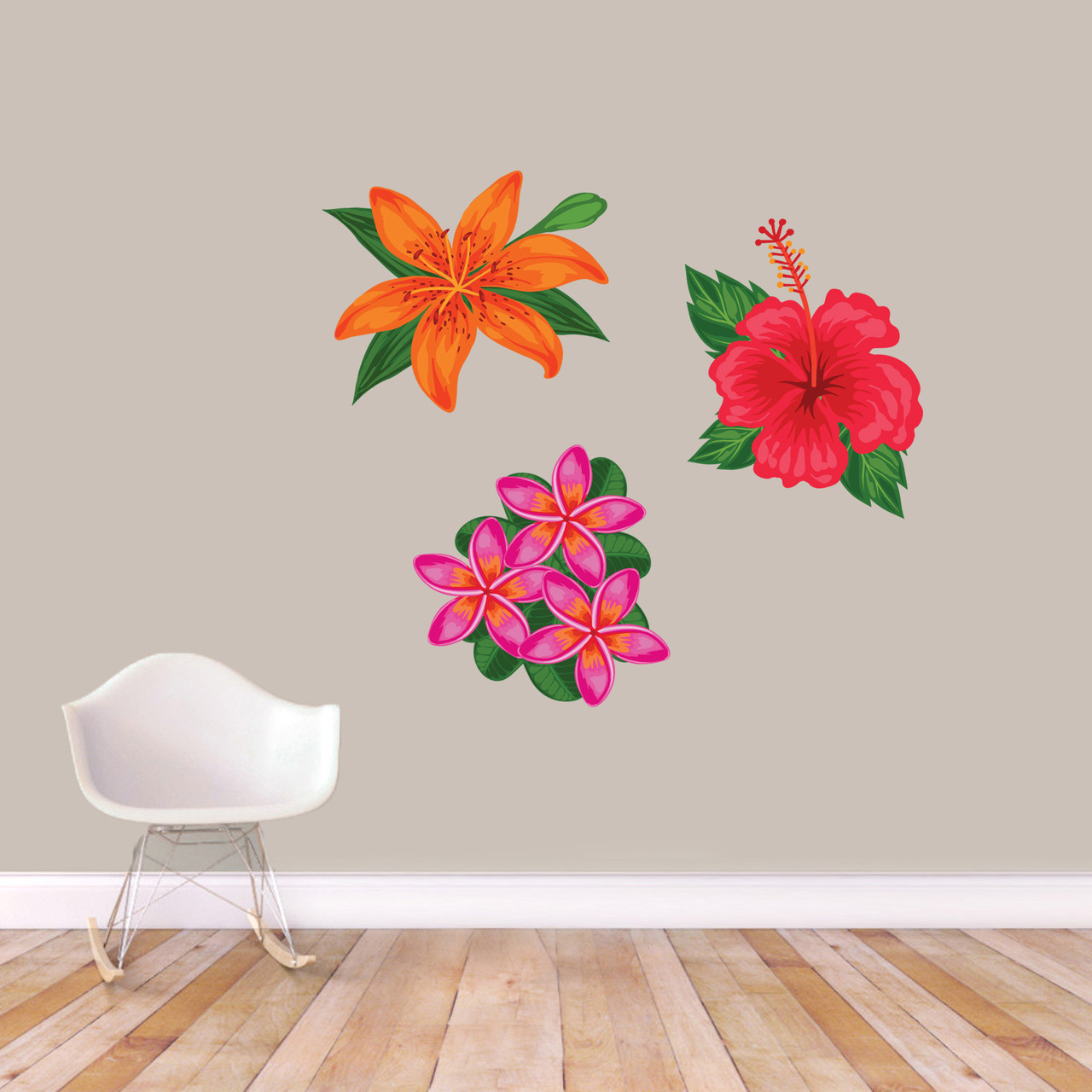 Printed Tropical Flowers Wall Decal Set Sweetums Signatures