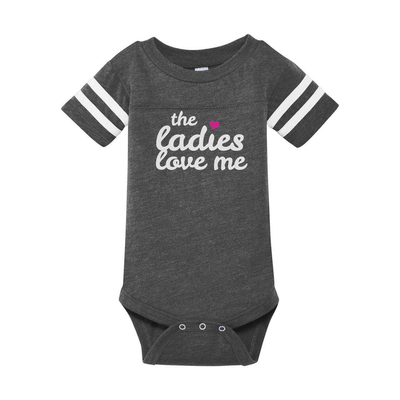 6622ef82e The Ladies Love Me infant onesie in heather grey with contrasting white on  sleeves.