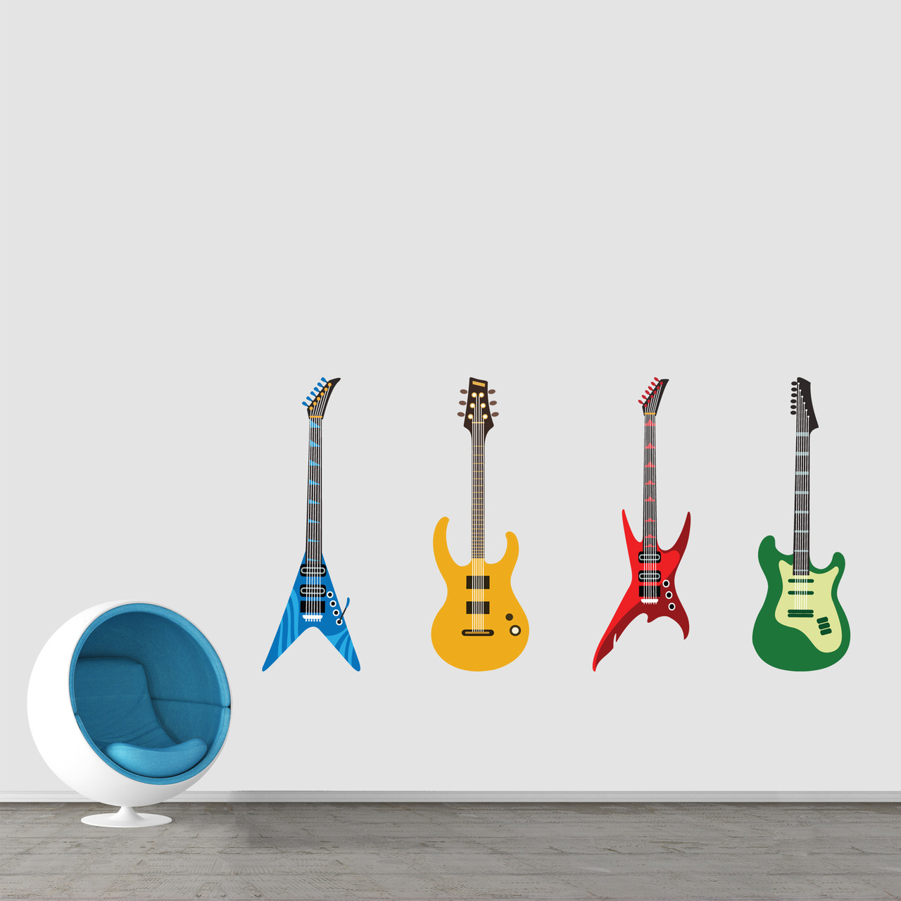 Electric guitars printed wall decals large sample image