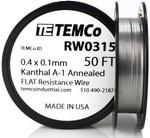 0.4 x 0.1 mm 50 ft Kanthal A-1 flat ribbon resistance wire.