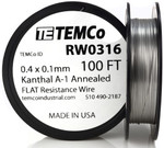 0.4 x 0.1 mm 100 ft Kanthal A-1 flat ribbon resistance wire.