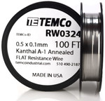 0.5 x 0.1 mm 100 ft Kanthal A-1 flat ribbon resistance wire.