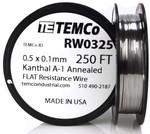 0.5 x 0.1 mm 250 ft Kanthal A-1 flat ribbon resistance wire.