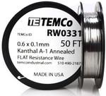 0.6 x 0.1 mm 50 ft Kanthal A-1 flat ribbon resistance wire.