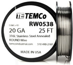 Stainless Steel Wire 20 AWG RW0538 - 25 FT 1.1 oz SS 316L Non-Resistance AWG