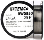 Stainless Steel Wire 24 AWG RW0550 - 25 FT 0.44 oz SS 316L Non-Resistance AWG