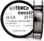 Stainless Steel Wire 26 AWG RW0557 - 25 FT 0.27 oz SS 316L Non-Resistance AWG