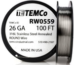 Stainless Steel Wire 26 AWG RW0559 - 100 FT 1.09 oz SS 316L Non-Resistance AWG