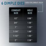 "TH0388 Dimple Die Set Tool Kit 6pcs for Conduit Knockout Sizes: (1/2"") 0.86"", (3/4"") 1.05"", (1"") 1.33"", (1-1/4"") 1.69"", (1-1/2"") 1.93"", (2"") 2.36"""