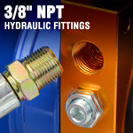 """Valve body is ported with 3/8"""" NPT female threads that provides a wide access to industry standard fittings and hoses. Unlike with SAE threads, 3/8"""" NPT hydraulic fittings can be found at local farm supply and hydraulic part supply stores."""