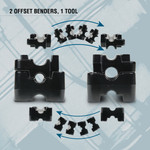 """TH3030 is 2 offset benders in 1 tool. Until now, utilizing 1/2"""" and 3/4"""" conduit would require purchasing two different offset benders. This revolutionary, patented design allows you to change your die in under a minute, no tools required."""